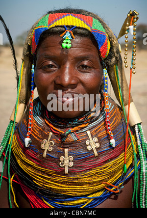 Mumuhuila Woman Wearing The Traditional Giant Necklace, Hale Village, Angola - Stock Photo
