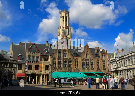 De Burg, with the Beffroi tower in the background, Bruges, Belgium. Burg is the original central square in Bruges. - Stock Photo