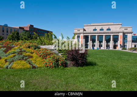 Athena park and Jean Talon old train station in Montreal Park extension area  Quebec Canada - Stock Photo