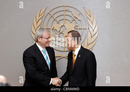 Australian Foreign Minister Mr Kevin Rudd meets with United Nations Secretary General Ban Ki-moon at UN Headquarters - Stock Photo