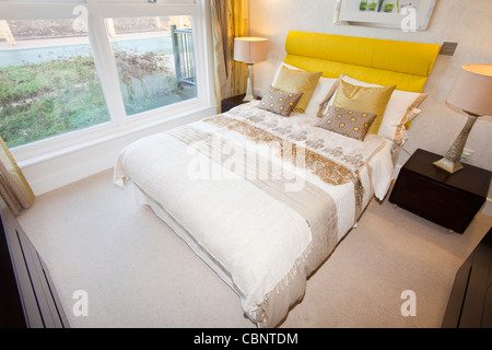 A bedroom in Riverside 1, in Middlesbrough, one of the greenest housing developments in the UK. - Stock Photo