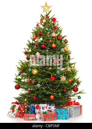 Beautiful decorated Christmas tree with colorful wrapped gifts under it. Isolated on white background. - Stock Photo