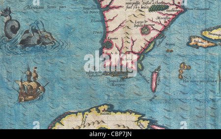 1591 De Bry and Le Moyne Map of Florida and Cuba - Stock Photo