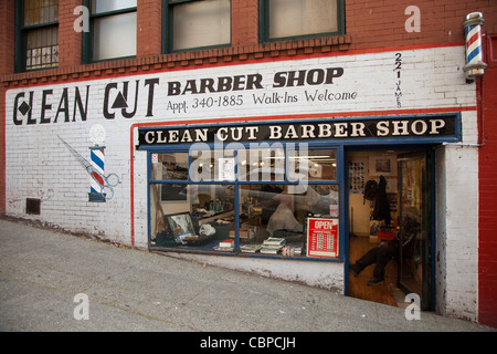 Barber shop in downtown Seattle, Washington, USA - Stock Photo