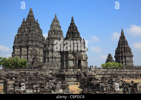 Prambanan is a ninth century Hindu temple compound in Central Java, Indonesia, - Stock Photo