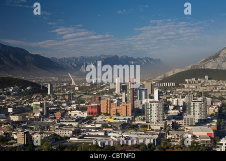 Looking towards the Colonia of San Jeronimo, with Santa Catarina in the distance in the municipal area of Monterrey, - Stock Photo