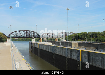 Lock at the McAlpine Locks and Dam. On the Ohio River. Louisville, Kentucky, USA. - Stock Photo