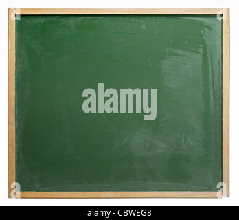 old used blackboard badly wiped out. Studio photography in white back - Stock Photo