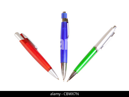 colored pens on a white background - Stock Photo