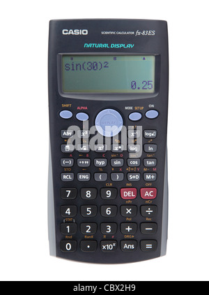 Casio scientific calculator showing a trigonometry calculation  isolated on white background - Stock Photo