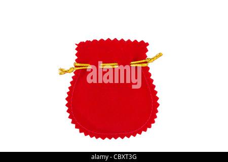 Red velvet bag isolated on white background - Stock Photo