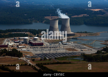 aerial photograph of Sequoyah Nuclear Power Plant Tennessee Valley Authority Chattanooga - Stock Photo