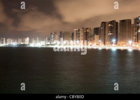 Fortaleza in Brasil by night - Stock Photo