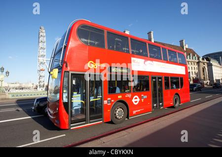 london red double decker bus public transport crossing westminster bridge england united kingdom uk - Stock Photo