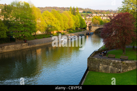 Evening view of the River Avon from the Grand Parade, near the Empire Hotel, Bath, Somerset, England, UK. - Stock Photo