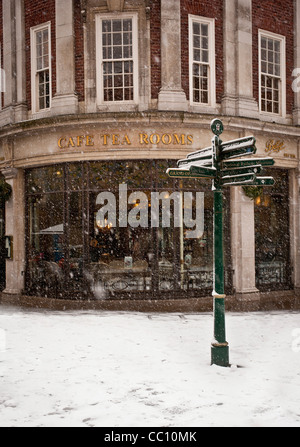 Betty's Cafe and tearooms, York, in snow - Stock Photo