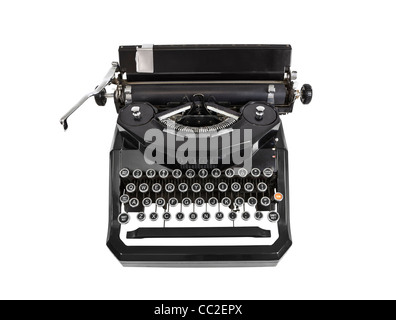 Vintage typewriter isolated on white. - Stock Photo