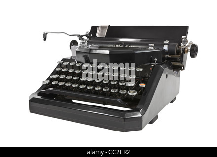 Vintage black typewriter isolated on white. - Stock Photo