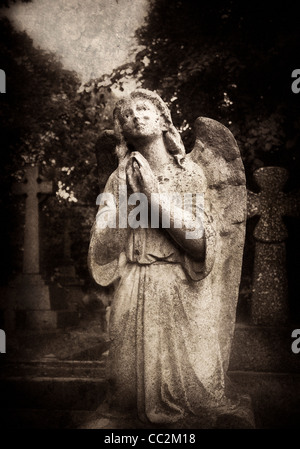 Statue of an female angel praying in Brompton Cemetery, London - Stock Photo