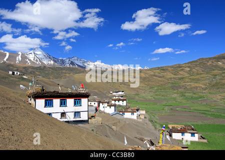Shila Peak overlooking Langza village in the Indian Himalaya - Stock Photo