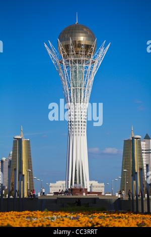 Kazakhstan, Astana, Nurzhol Bulvar - central boulevard, Bayterek Tower - Stock Photo