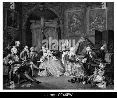 Marriage a la Mode Toilette scene From the original picture by Hogarth from The Works of Hogarth published London - Stock Photo