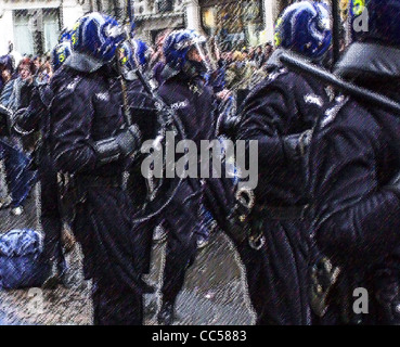Generic illustrations of British Riot Police in action images treated to avoid identification MR not required - Stock Photo