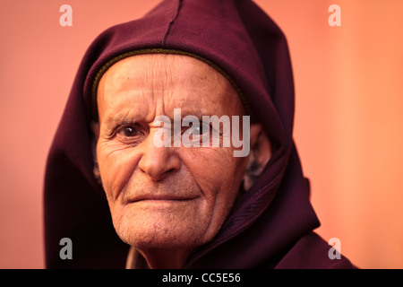 Portrait of an elderly man, Marrakesh, Morocco - Stock Photo