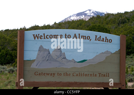 Welcome to Almo, Idaho road sign along Idaho State Highway 77. - Stock Photo