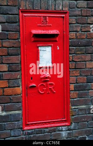 A Traditional Red Post Box, Cambridge, England, UK - Stock Photo