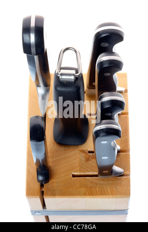 Kitchen tools. Knife block with various types of kitchen knifes. - Stock Photo
