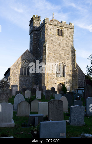 The parish church and churchyard of St Margaret's in the WWest Sussex village of  Angmering - Stock Photo