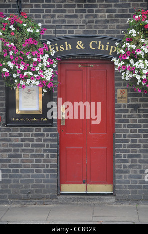 The entrance of a high end fish and chip shop at Southbank in London - Stock Photo