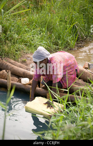 A woman fetches water in rural Masaka District, Uganda, East Africa. - Stock Photo