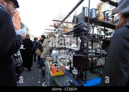 united kingdom london borough of kensington and chelsea portobello road saturday antiques market - Stock Photo