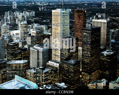 Aerial view of the city of Toronto downtown towers at dusk, Ontario, Canada 2009. - Stock Photo