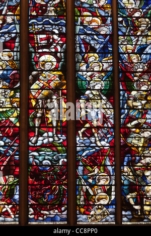 Saint George- stained glass window of Christ Church College Chapel - Stock Photo