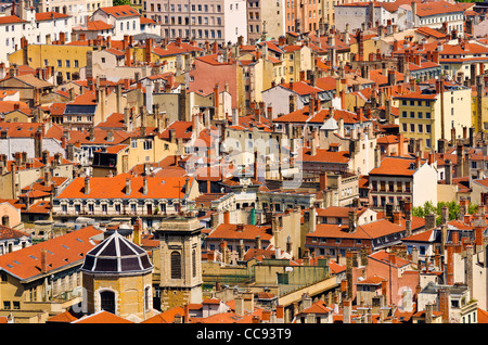 Old town Vieux Lyon from Fourvière Hill, France (UNESCO World Heritage Site) - Stock Photo