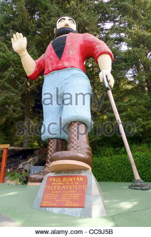 Paul Bunyan statue at Trees of Mysety, Klamath, California, United States - Stock Photo
