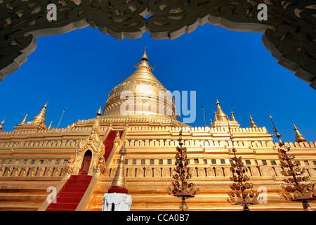 Shwezigon Paya (Pagoda) | Bagan (Pagan), Myanmar (Burma) - Stock Photo