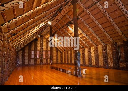 Waitangi Treaty Grounds. Maori Meeting House Interior. - Stock Photo