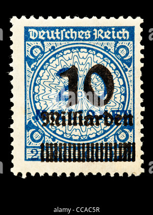 Postage stamp: German Empire, 1923, 10 billion mark on top of 20 million, mint condition - Stock Photo