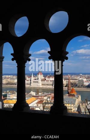Budapest, Hungarian Parliament Building and Danube River view from Buda Castle Fishermen's Bastion - Stock Photo