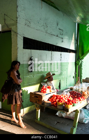 Inside the 'Mercado Sur 2' lifestyle ambiance in the Zona 1, Guatemala City Historical Center, Guatemala, Central - Stock Photo