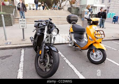 Motorcycle parking spot - Stock Photo