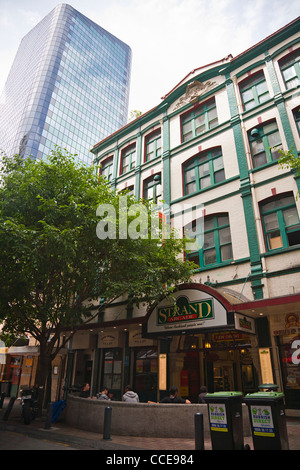 The Strand Arcade shopping mall. Old and new buildings, shops and offices. Architecture in Auckland, North Island, - Stock Photo