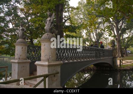 Ponte delle Sirenette (1842) bridge by Francesco Tettamanzi in Parco Sempione park central Milan Lombardy region - Stock Photo