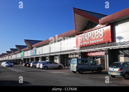 Staples and other stores in the Hylton out of town retail park in Sunderland, north east England UK - Stock Photo