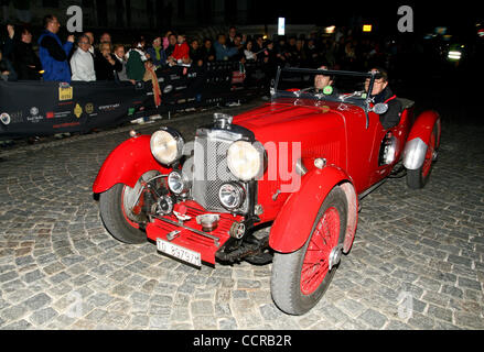 1933 Aston Martin Le Mans arriving at checkpoint in Desenzano during the 2010 Mille Miglia - Stock Photo