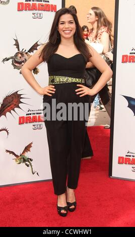 Mar 21, 2010 - Universal City, California, USA - Actress AMERICA FERRERA arriving to the 'How To Train Your Dragon' - Stock Photo